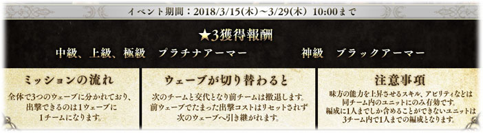 3/15(木)メンテナンス後 〜 3/29(木)メンテナンス前まで