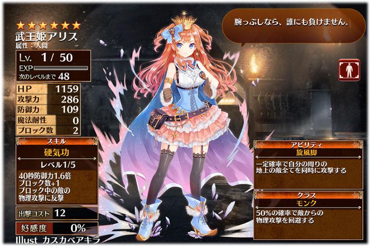 武王姫アリスの初期ステータス