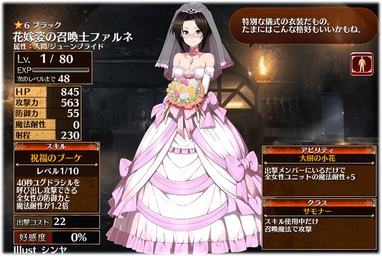花嫁ファルネの初期ステータスはこちらです。