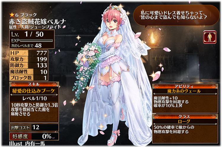 花嫁ベルナの初期ステータスはこちらです。