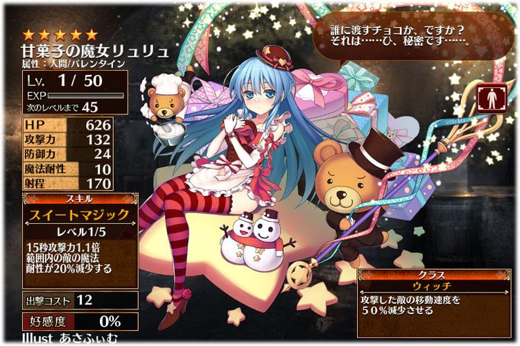 アイギス:甘菓子の魔女リュリュの初期クラスはウィッチ、初期ステータスはこちらです。