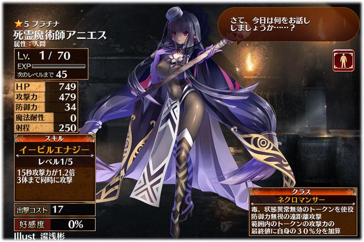 アイギス:死霊魔術師アニエスの初期クラスはネクロマンサー、初期ステータスはこちらです。