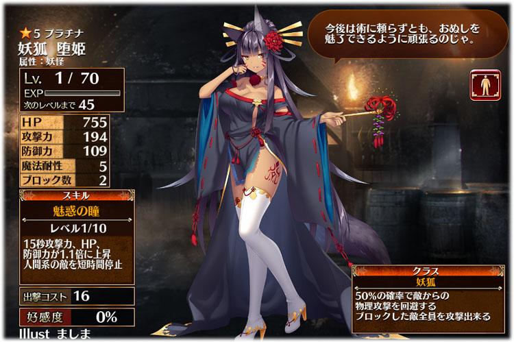 アイギス:妖狐堕姫の初期クラスは妖狐、初期ステータスはこちらになります。