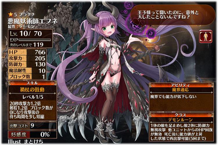 アイギス:悪魔妖術師エフネの初期クラスはデモンルーン、初期ステータスはこちらです。