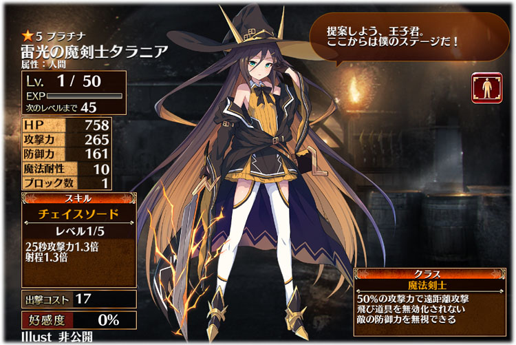 アイギス:雷光の魔剣士タラニアの初期クラスは魔法剣士、初期ステータスはこちらです。