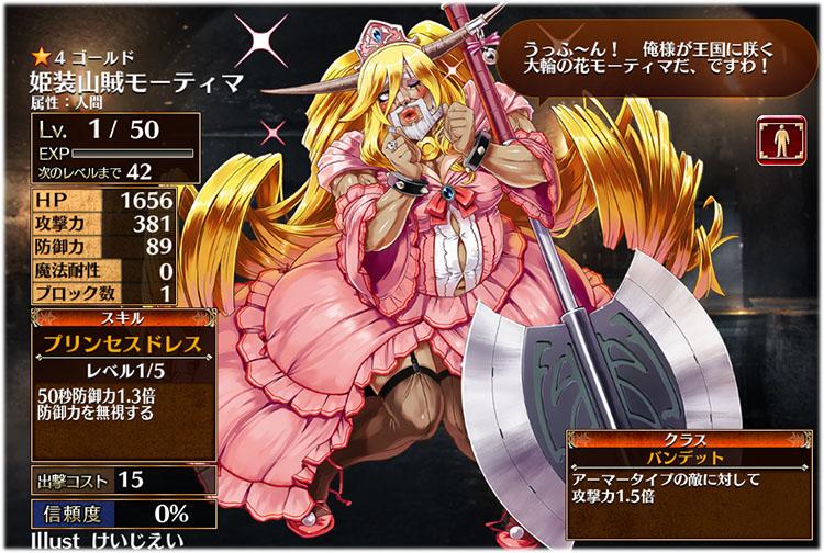 アイギス:姫装山賊モーティマの初期クラスはバンデット、初期ステータスはこちらです。
