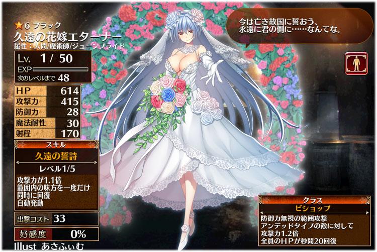 アイギス:久遠の花嫁エターナーの初期クラスはビショップ、初期ステータスはこちらです。