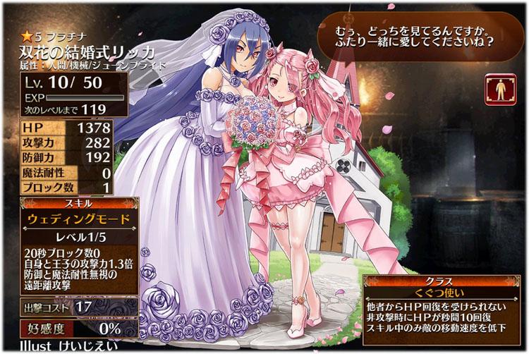 アイギス:双花の結婚式リッカの初期クラスはくぐつ使い、初期ステータスはこちらです。