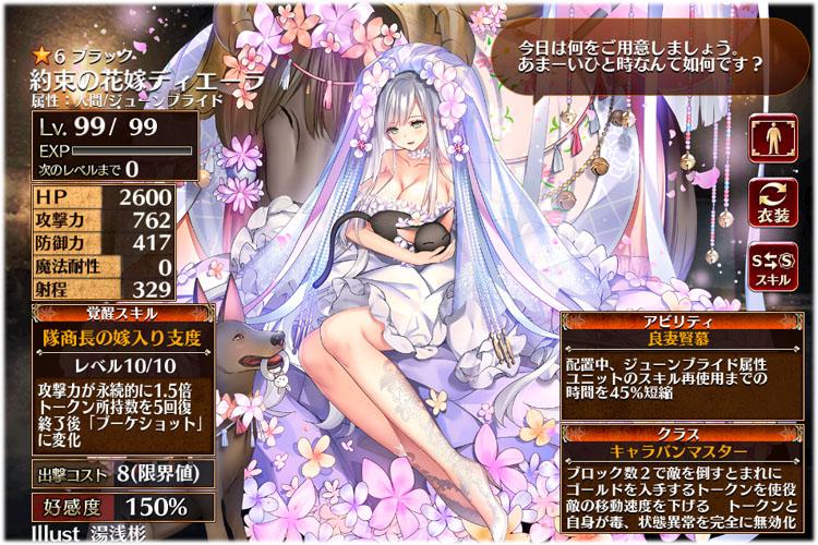 約束の花嫁ディエーラの1つめの第二覚醒クラスはキャラバンマスターに派生します。